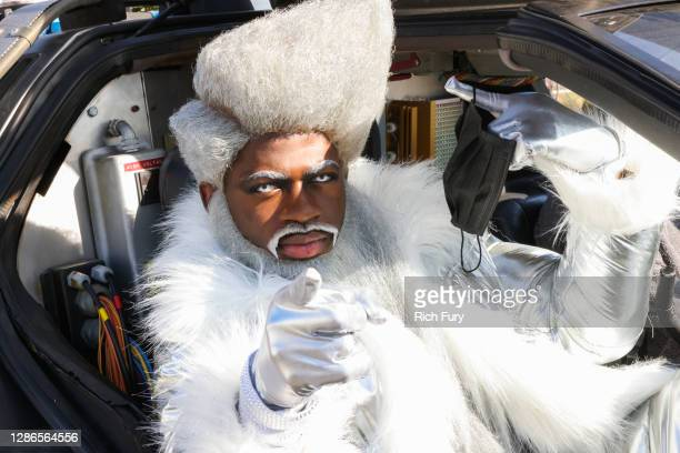 """Lil Nas X surprises guests at Starbucks in promotion of his new single """"HOLIDAY"""" on November 19, 2020 in Hollywood, California."""