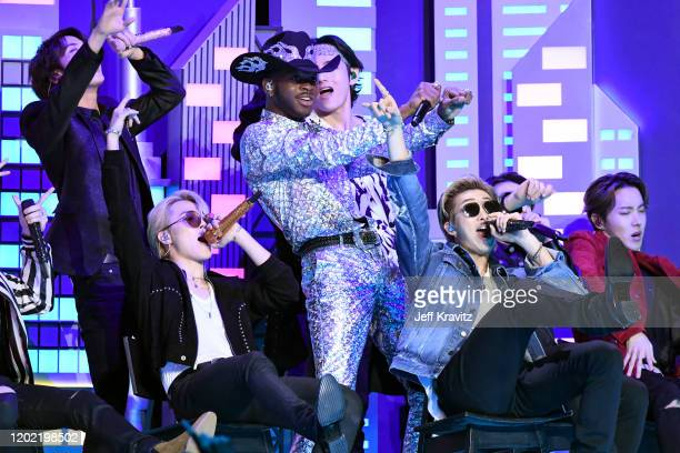Lil Nas X Swae Leeperforms with members of BTS onstage during the 62nd Annual GRAMMY Awards at Staples Center on January 26 2020 in Los Angeles...