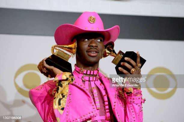 Lil Nas X winner of Best Music Video and Best Pop Duo/Group Performance for Old Town Road and Album of the Year for his EP 7 poses in the press room...