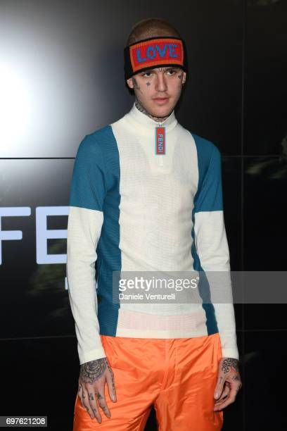 Lil Peep attends the Fendi show during Milan Men's Fashion Week Spring/Summer 2018 on June 19 2017 in Milan Italy