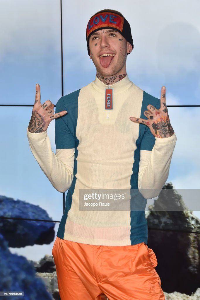 Lil Peep attends the Fendi show during Milan Men's Fashion Week Spring/Summer 2018 on June 19, 2017 in Milan, Italy.