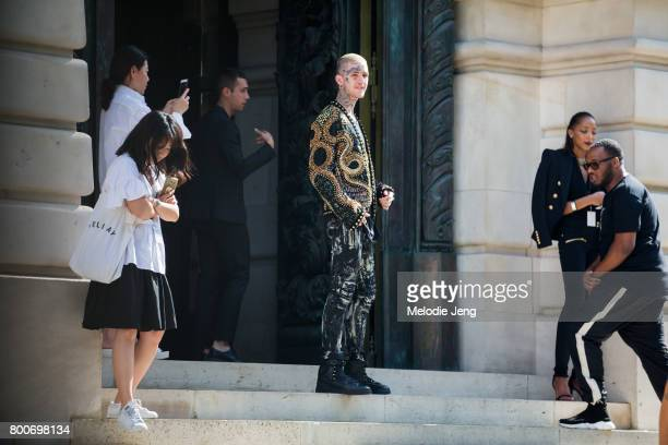 Lil Peep outside the Balmain show on June 24 2017 in Paris France