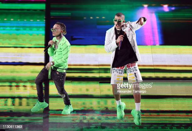 Lil Pump and Bad Bunny perform on stage during the Bad Bunny concert at the American Airlines Arena on March 14 2019 in Miami Florida
