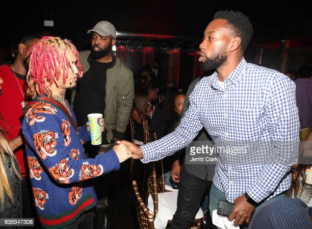 Lil Pump and Carl Chery attend Lil Pump's 17th Birthday Party at Ace Of Diamonds on August 17 2017 in West Hollywood California