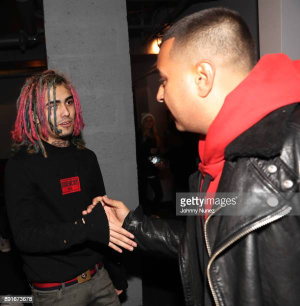 Lil Pump and DJ Camilo backstage at PlayStation Theater on December 12 2017 in New York City