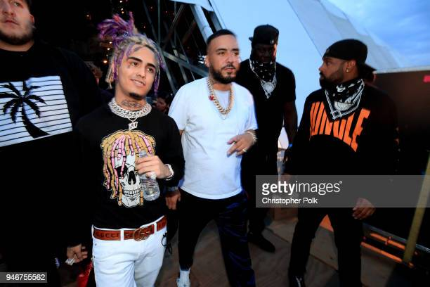 Lil Pump and French Montana pose backstage during the 2018 Coachella Valley Music and Arts Festival Weekend 1 at the Empire Polo Field on April 15...