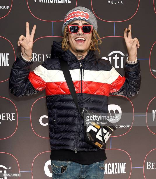 Lil Pump arrives at the Warner Music Group PreGrammy Celebration at Nomad Hotel Los Angeles on February 7 2019 in Los Angeles California