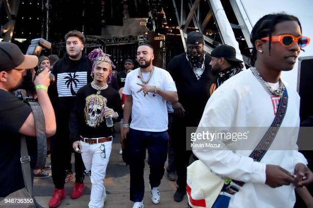 Lil Pump French Montana and A$AP Rocky pose backstage during the 2018 Coachella Valley Music and Arts Festival Weekend 1 at the Empire Polo Field on...