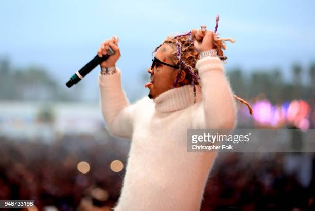 Lil Pump performs onstage during the 2018 Coachella Valley Music and Arts Festival Weekend 1 at the Empire Polo Field on April 15 2018 in Indio...