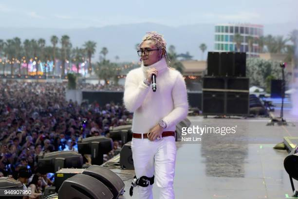 Lil Pump performs onstage during the 2018 Coachella Valley Music and Arts Festival Weekend 1 at the Empire Polo Field onApril 15 2018 in Indio...