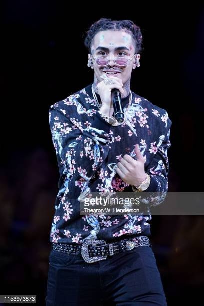 Lil Pump performs the halftime show during Game Three of the 2019 NBA Finals between the Golden State Warriors and the Toronto Raptors at ORACLE...