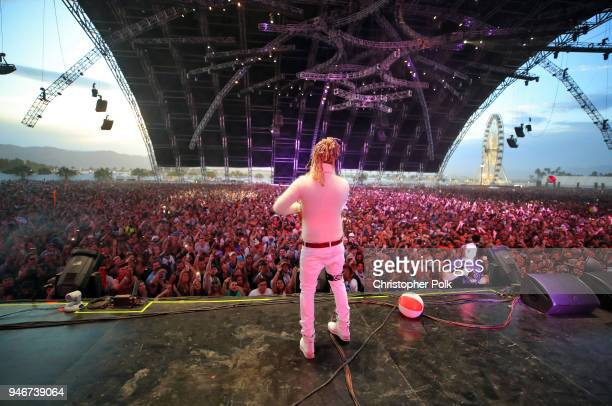 Lil Pump poses backstage during the 2018 Coachella Valley Music and Arts Festival Weekend 1 at the Empire Polo Field on April 15 2018 in Indio...