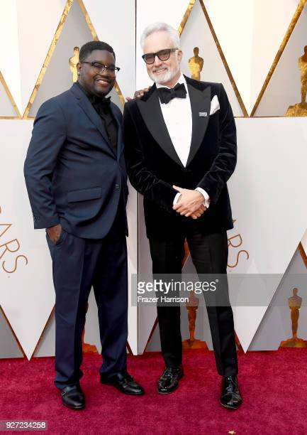 Lil Rel Howery and Bradley Whitford attend the 90th Annual Academy Awards at Hollywood Highland Center on March 4 2018 in Hollywood California