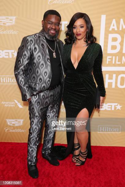 Lil Rel Howery and Melyssa Ford attend American Black Film Festival Honors Awards Ceremony at The Beverly Hilton Hotel on February 23, 2020 in...