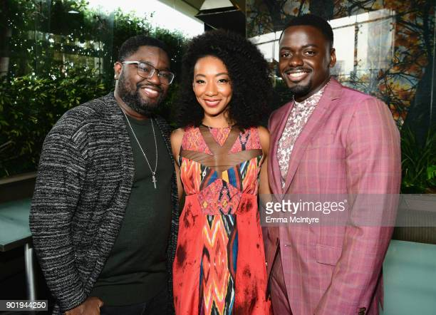 Lil Rel Howery, Betty Gabriel and Daniel Kaluuya attend the Film Independent Spirit Awards Nominee Brunch at BOA Steakhouse on January 6, 2018 in...