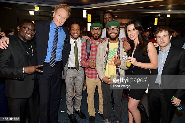 Lil Rel Howery, Conan O'Brien, Jermaine Fowler, Kenny Lucas, Keith Lucas, Jennifer Bartels, and Josh Rabinowitz attend the Turner Upfront 2015 at...