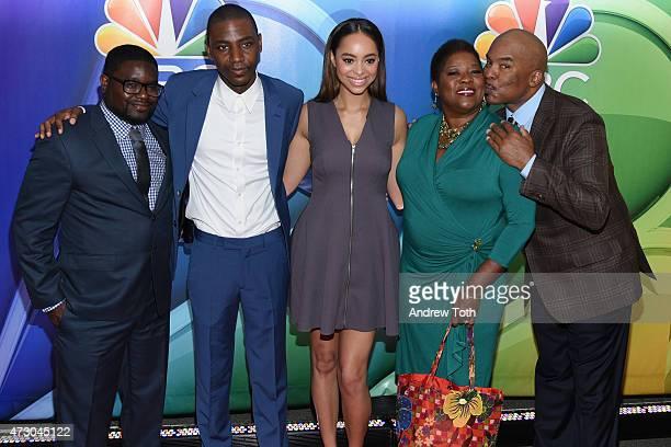 Lil Rel Howery Jerrod Carmichael Amber Stevens West Loretta Devine and David Alan Grier attend the 2015 NBC Upfront Presentation Red Carpet Event at...