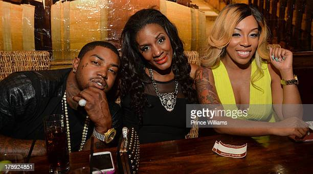 Lil Scrappy Mama Dee and K Michelle attend K Michelle Listening Party at Frank Ski's on August 9 2013 in Atlanta Georgia