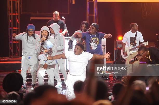 Lil Terio performs onstage with Bobby Shmurda at the BET Hip Hop Awards 2014 at Boisfeuillet Jones Atlanta Civic Center on September 20 2014 in...