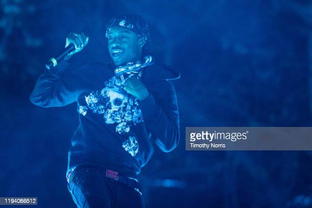Lil Tjay performs during 2019 Rolling Loud LA at Banc of California Stadium on December 14 2019 in Los Angeles California
