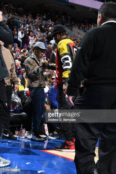 Lil Uzi Vert and Allen Iverson shake hands during the game between the Los Angeles Lakers and the Philadelphia 76ers on February 10 2019 at the Wells...