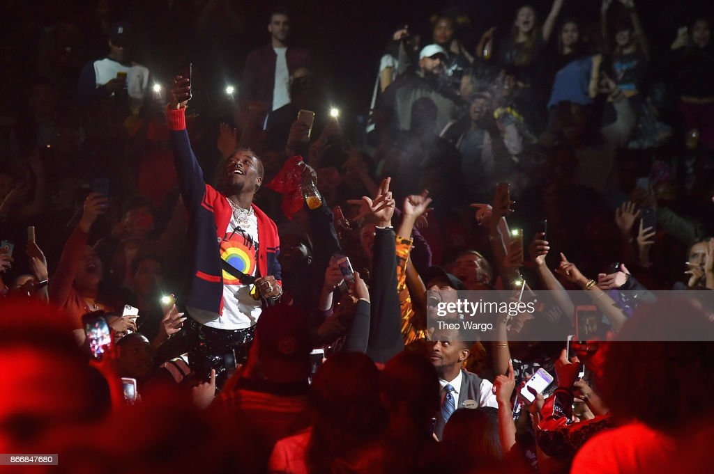 Lil Uzi Vert performs from the crowd during 105.1's Powerhouse 2017 at the Barclays Center on October 26, 2017 in the Brooklyn, New York City City.