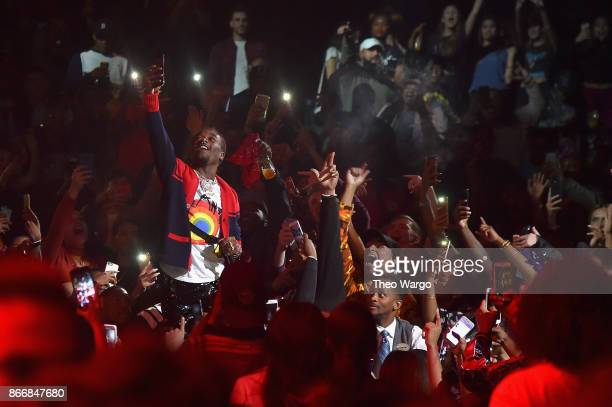 Lil Uzi Vert performs from the crowd during 1051's Powerhouse 2017 at the Barclays Center on October 26 2017 in the Brooklyn New York City City