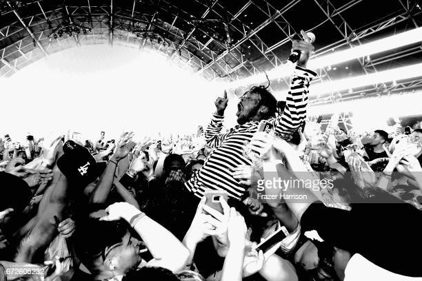 Lil Uzi Vert performs in the Sahara Tent during day 3 of the 2017 Coachella Valley Music Arts Festival