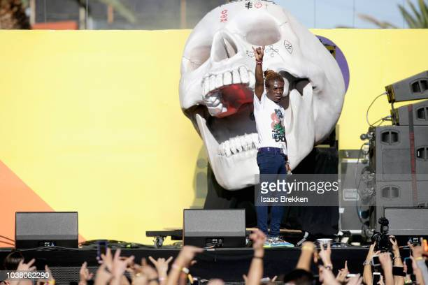Lil Uzi Vert performs onstage during the 2018 iHeartRadio Music Festival Daytime Stage at the Las Vegas Festival Grounds on September 22 2018 in Las...