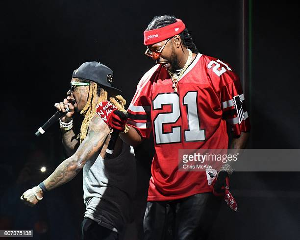 Lil Wayne and 2 Chainz of ColleGrove perform during the Music Midtown Festival at Piedmont Park on September 17 2016 in Atlanta Georgia