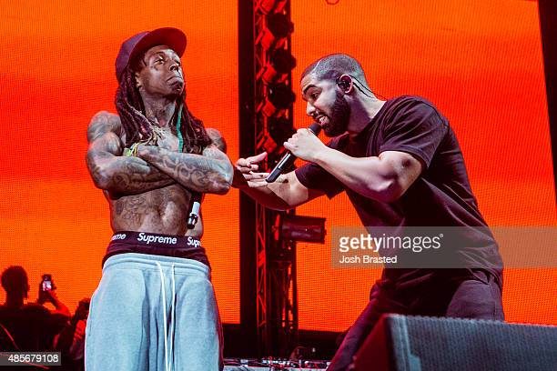 Lil Wayne and Drake perform at Lil Weezyana Festival at Champions Square on August 28 2015 in New Orleans Louisiana