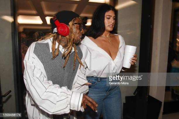 Lil Wayne and La'Tecia Thomas attend Lil Wayne's Funeral album release party on February 01 2020 in Miami Florida