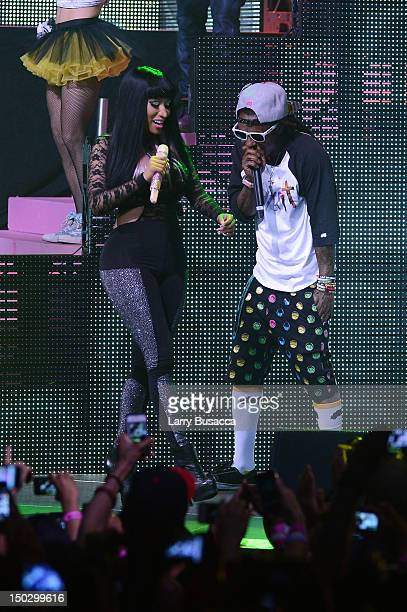 Lil Wayne and Nicki Minaj perform at Pepsi Presents Nicki Minaj's Pink Friday Tour at Roseland on August 14 2012 in New York City