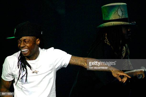 Lil' Wayne and TPain perform in support of his Tha Carter III release at the ORACLE Arena on December 23 2008 in Oakland California