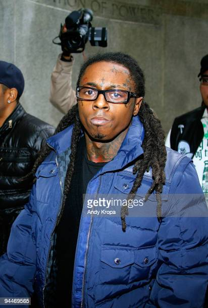 Lil Wayne arrives in court for weapon charges at the New York State Supreme Court on December 15 2009 in New York City