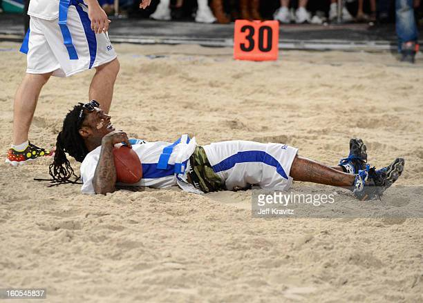 Lil Wayne attends DIRECTV'S 7th Annual Celebrity Beach Bowl at DTV SuperFan Stadium at Mardi Gras World on February 2 2013 in New Orleans Louisiana