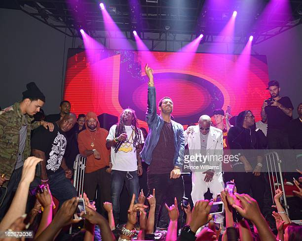 Lil Wayne Drake and Birdman on stage at Stereo live at Lil Wayne Hosted Party at February 17 2013 in Houston Texas
