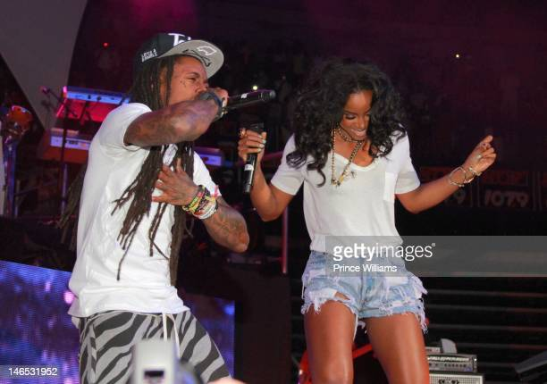 Lil Wayne Kelly Rowland perform at the 1079 Birthday Bash 17 at Philips Arena on June 16 2012 in Atlanta Georgia