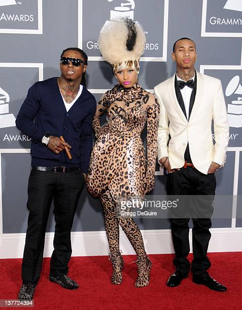 Lil Wayne Nicki Minaj and Tyga arrive for the 53rd Annual GRAMMY Awards at the Staples Center February 13 2011 in Los Angeles California