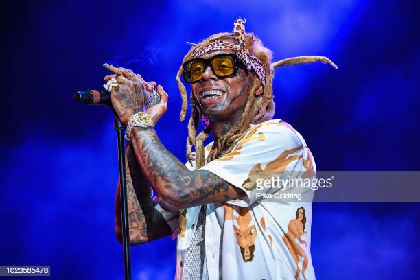 Lil Wayne performs during Lil WeezyAna at Champions Square on August 25 2018 in New Orleans Louisiana