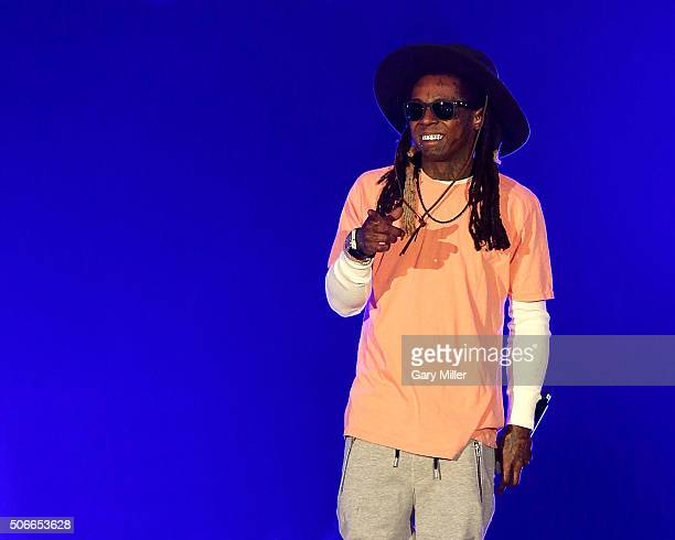 Lil Wayne performs on stage during The Dedication Tour at American Bank Center on January 24 2016 in Corpus Christi Texas
