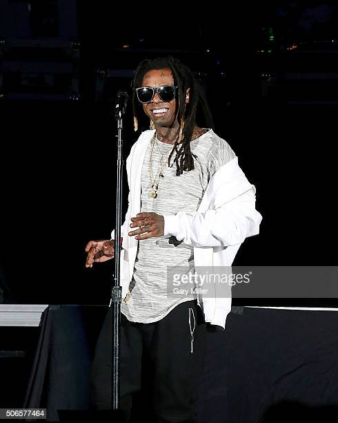 Lil Wayne performs on stage on the second night of The Dedication tour at State Farm Arena on January 23 2016 in Hidalgo Texas