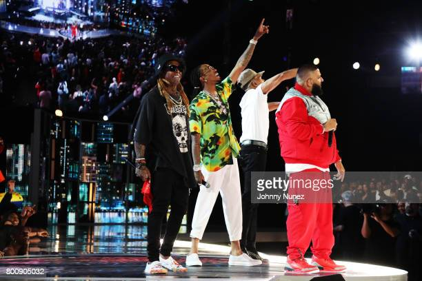 Lil Wayne Quavo Chance the Rapper and DJ Khaled peform onstage at 2017 BET Awards at Microsoft Theater on June 25 2017 in Los Angeles California