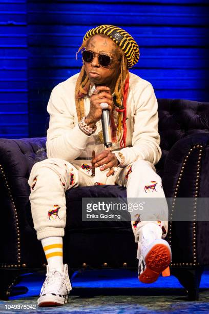 Lil Wayne speaks on stage at House of Blues on October 3 2018 in New Orleans Louisiana