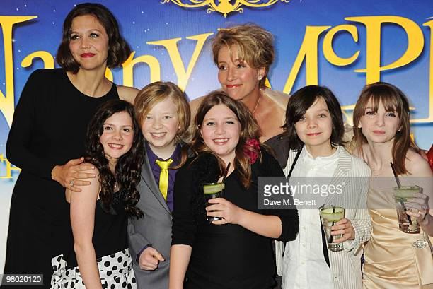 LR Lil Woods Maggie Gyllenhaal Oscar Steer Rosie Taylor Ritson and Emma Thompson arrive at the 'Nanny McPhee And The Big Bang' world film premiere at...
