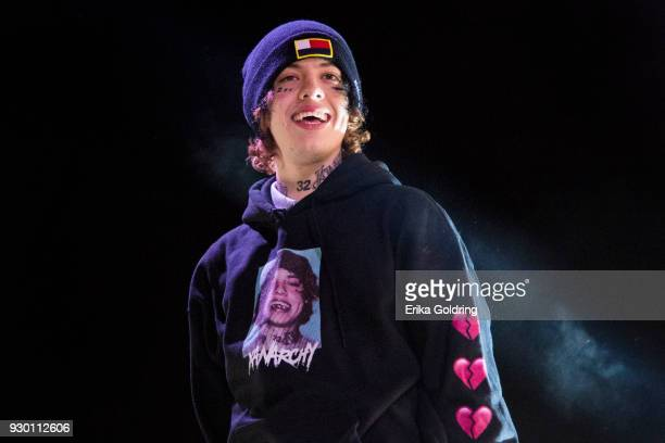 Lil Xan performs during BUKU Music Art Project at Mardi Gras World on March 9 2018 in New Orleans Louisiana