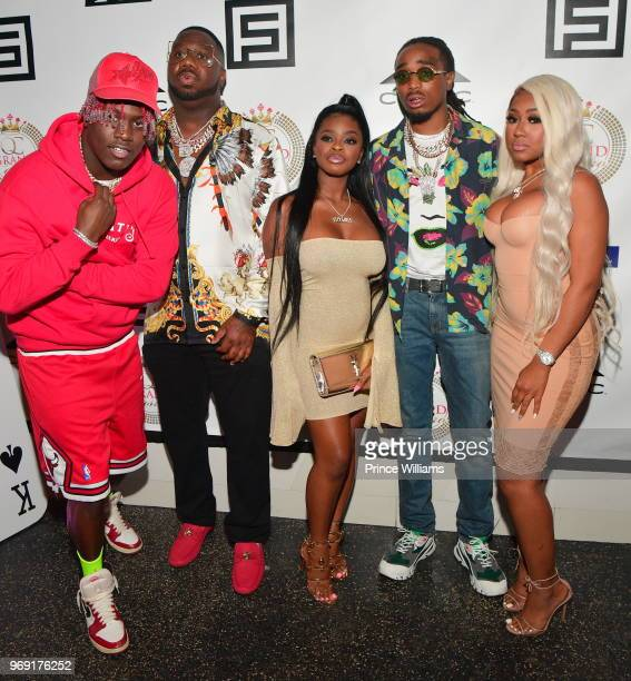Lil Yachty Pierre 'Pee' Thomas City Girls and Quavo attend Pierre 'Pee' Thomas Birthday Celebration at Gold Room on June 7 2018 in Atlanta Georgia