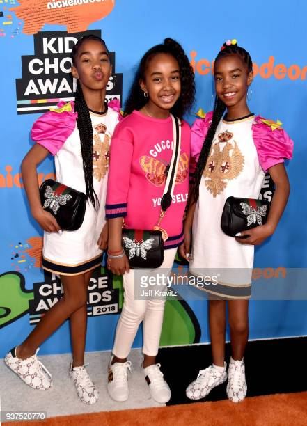 D'Lila Combs Chance Combs and Jessie Combs attend Nickelodeon's 2018 Kids' Choice Awards at The Forum on March 24 2018 in Inglewood California