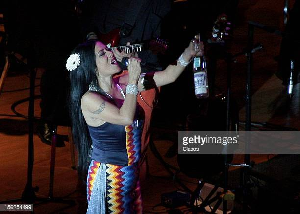 Lila Downs performs during the concert in the Nezahualcoyotl Hall of the Centro Cultural Universatario on November 10 2012 in Mexico City Mexico