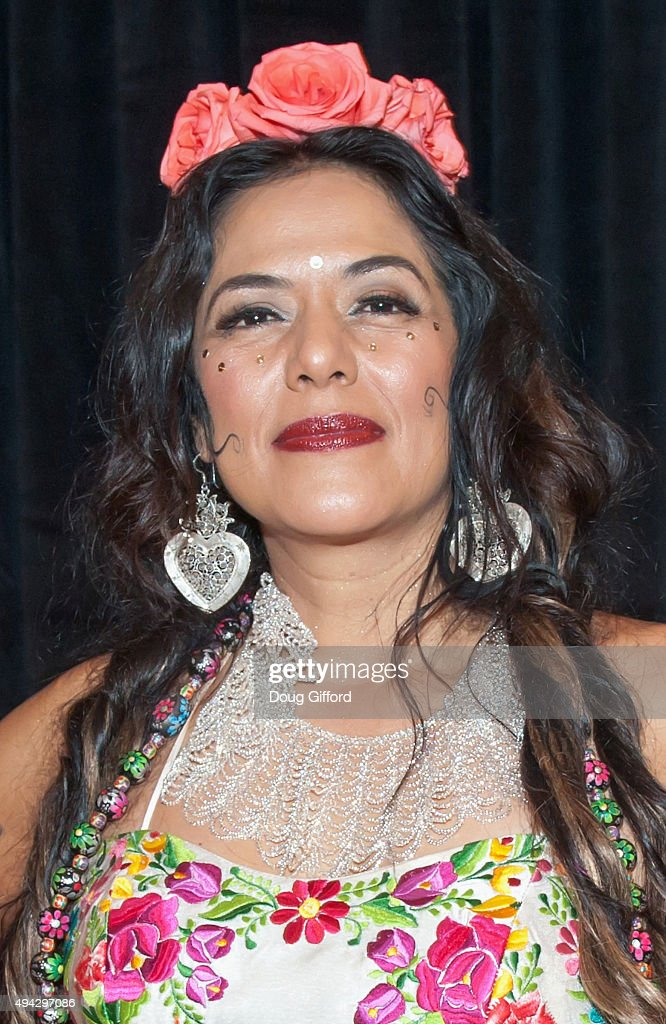 Lila Downs poses on stage after her performance in the Renee and Henry Segerstrom Concert Hall at Segerstrom Center For The Arts on October 25, 2015 in Costa Mesa, California.